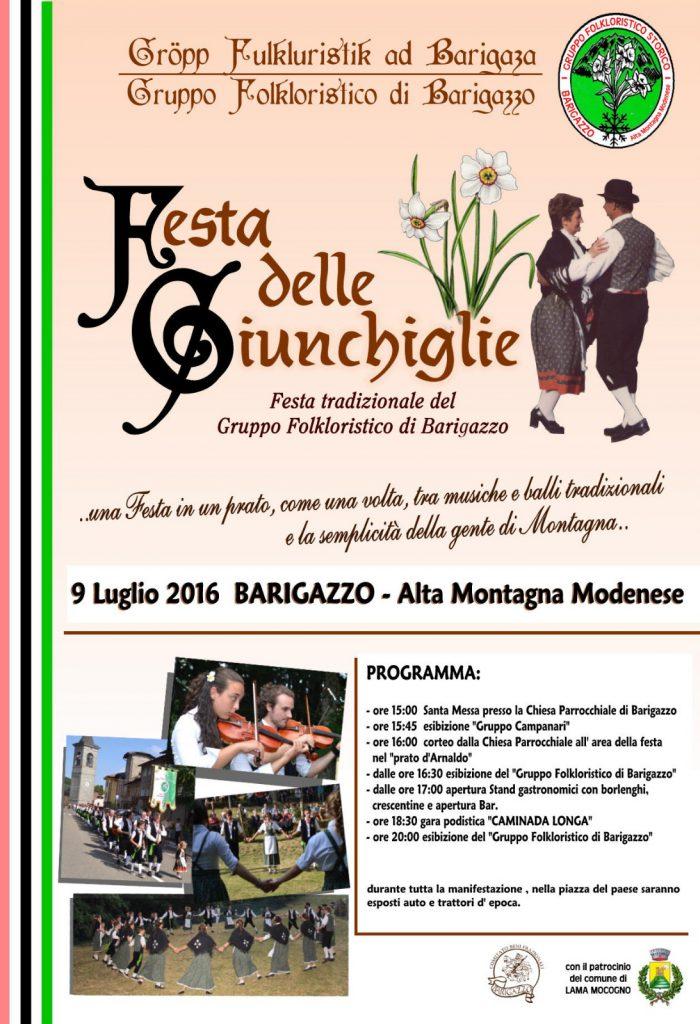 il 9 luglio 2016 i ragazzi del Gruppo Folkloristico di Barigazzo vi aspettano per passare una magnifica giornata di tradizione, balli e musiche a Barigazzo..